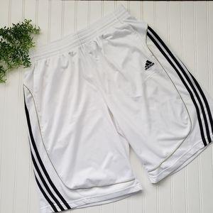 Adidas White Black Logo 3 Stripe Shorts sz XL